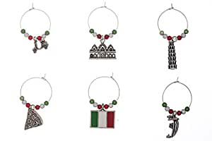Set of 6 Handmade Italy Wine Glass Charms by Libby's Market Place