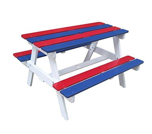 Dehner Kids, Picknickset Jack, ca. 90 x 80 x 54 cm, FSC Akazienholz, weiß/blau/rot