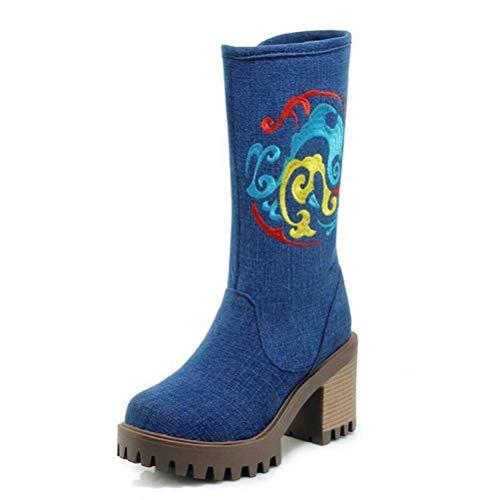Heng Rui Co Damen Blockabsatz Bestickte Stiefel Denim Halbschaft Plattform Reißverschluss Hoher Absatz Winter Cowboy Boots