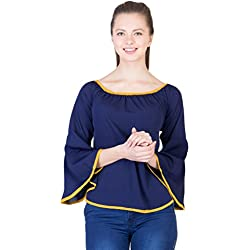 Khhalisi Women's Cotton Tops(D-28_Blue_Small)
