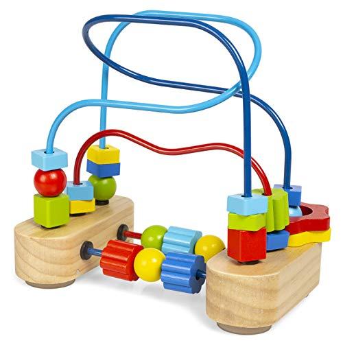abeec AMZ-0108 Holzperlen Maze-Abacus Kreis Spielzeug für Kinder Junge Mädchen rot grün gelb blau Holz - Holz-puzzle Kreis