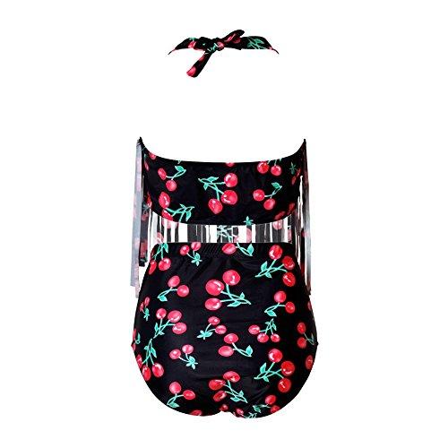 Perfashion Frauen Groß Größe High Waist Bademode Franse Troddel Bikini Badeanzug Kirsche
