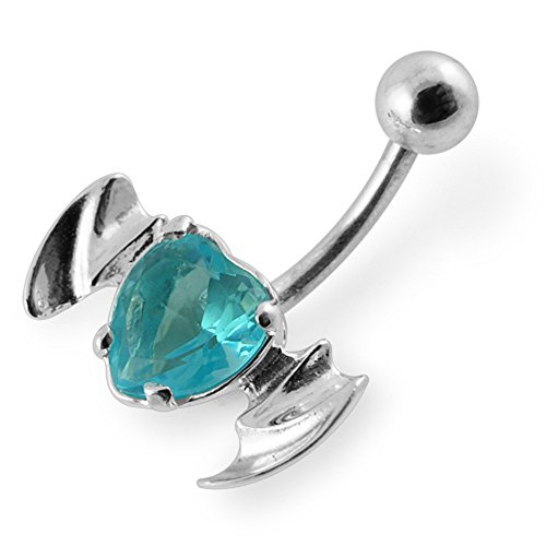 Bijou de Corps anneau de nombril en argent en forme de cœur avec ailes de chauve-souris avec pierre fantaisie Light Blue