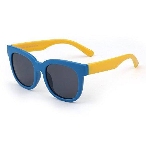JM Kinder Flexibel Gummi Sonnenbrille Polarisiert Gläser für Mädchen Jungen Alter 3 zu 12(Blau&Gelb/Grau)