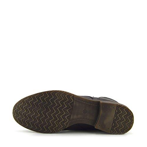Kick Footwear - Delle Donne Delle Signore Di Combattimento Militare Dell'Esercito Lavoratore Pizzo Piatto Biker Zip Stivaletti Brown Premium