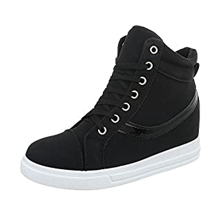 Stiefelparadies Damen Plateau Sneaker Metallic Lack Schuhe High Heel Plateauschuhe 155481 Schwarz 38 Flandell 8YcKhC6p