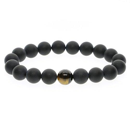 10mm Bracelet de Prière Perles d'Énergie Onyx Noir Mat Œil de tigre Jaune Lien Poignet Homme