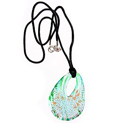 Abstract Green and Aqua Looped Glass Pendant Necklace