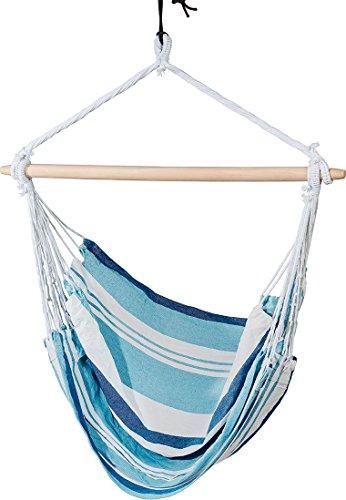LIVARNO LIVING® Hängesessel, Belastbarkeit bis 120 kg, ca. 150 x 120 cm (blau/weiß gestreift)