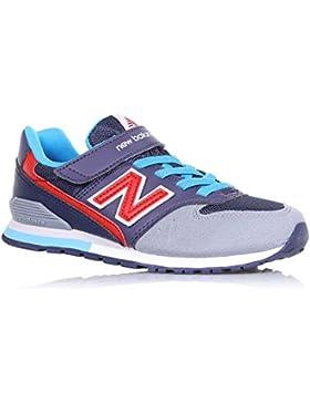 NEW BALANCE - Blauer und grauer Sportschuh aus Wildleder und Stoff, mit Klettverschluss, elastische Schnürsenkel...
