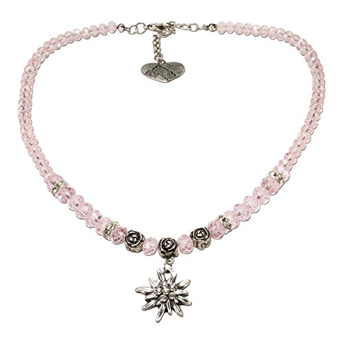 Alpenflüstern Perlen-Trachtenkette Fiona Crystal mit Strass-Edelweiß Klein - Damen-Trachtenschmuck Dirndlkette Rosé-Rosa DHK155