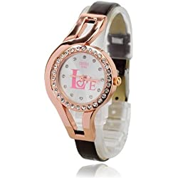 Rose gold crystal 'LOVE' brown leather ladies fashion watch