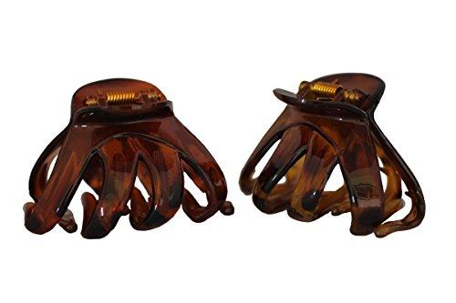 Haarkralle Oktopus Clip Schmetterling Bulldoggen Design Plastik - 2 Stück (Braun & Dunkelbraun)