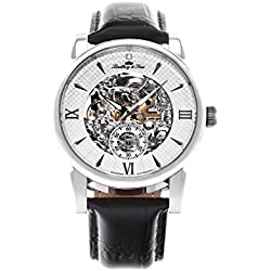 Lindberg & Sons - SK14H046 - wrist watch for men - skeleton - automatic movement analog display - white dial - black leather bracelet