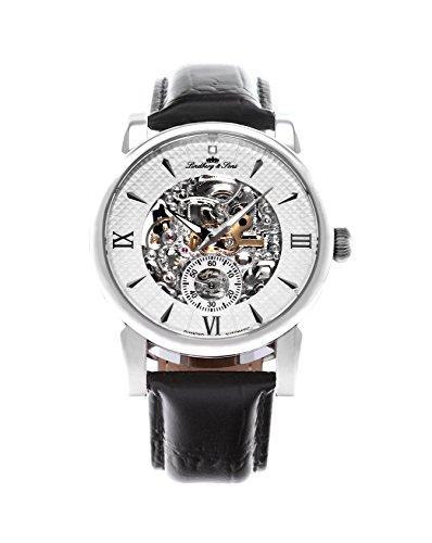 Lindberg & Sons Herren-Armbanduhr mechanische Automatik Analog Skelettuhr Leder Schwarz - SK14H046