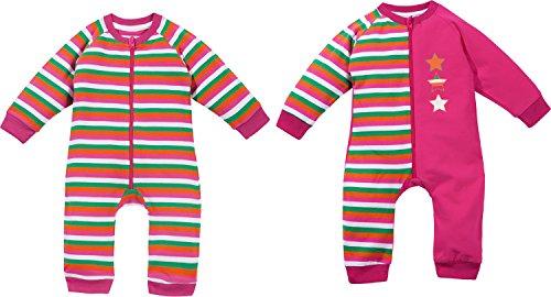 Kinderbutt Schlafanzug 2er-Pack mit Druckmotiv Interlock-Jersey pink/weiß Größe 62/68