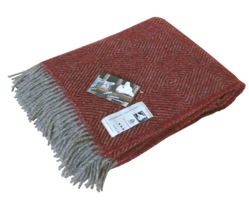 Graue Wolldecke mit roten Fischgrat-Streifen aus 100% skandinavischer Schurwolle, ca 200x130cm mit Fransen, 860g Rot Mit Fransen