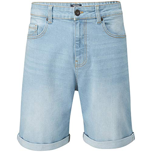 Charles wilson pantaloncini uomo denim elasticizzati (bleach, 36