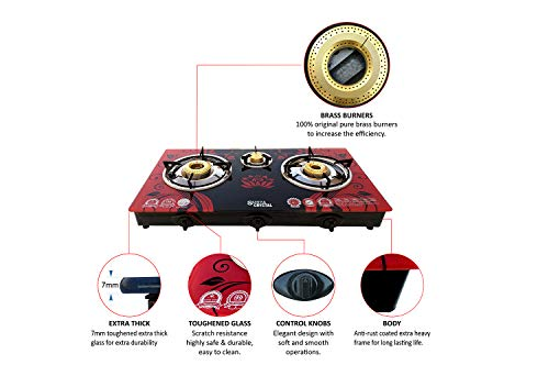ACTIVA AUTO Ignition 3 Burner Surya Crystal TOP Glass Gas Stove (RED)
