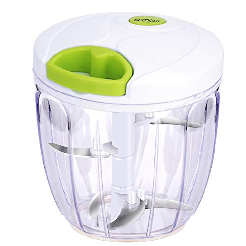Sedhoom Manual Food Chopper 5 Blades 1000 ml, Powerful Easy Pull Upgraded Hand Held Vegetable Onion Chopper/Food Processor/Blender