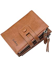 50b50e7bdedc78 Baellerry Double Zipper Stylish Leather Wallet for Mens Credit Card and  Money Holder