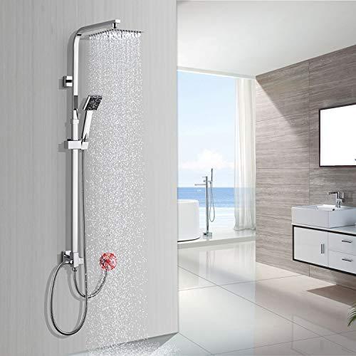 BONADE Duschsystem ohne Armatur Duschsäule Regendusche Duscharmatur inkl. Verstellbar Duschstange (885-1235 mm), Kopfbrause aus SUS304 Edelstahl und Handbrause