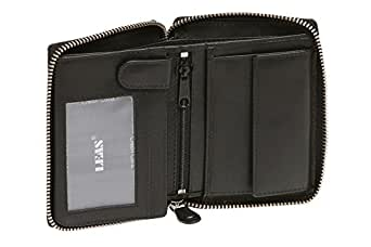 Portefeuille avec compartiment à fermeture éclair LEAS, cuir véritable, noir - ''LEAS Zipper-Collection''