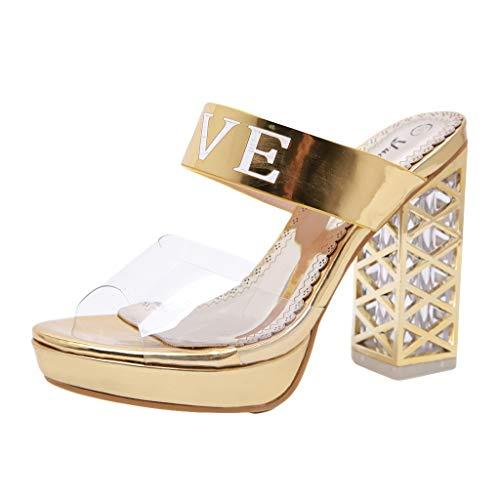 REALIKE Damen High Heels Sandalen Dicke Ferse Elegant Love Muster Schuhe Knöchel Schnalle Peep Toe Sommerschuhe Plateausandalen Gold, Schwarz Frauen Bequem Touch Flache Schuhe Strandschuhe