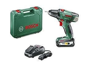 Bosch Perceuse-visseuse Expert sans fil PSR 18 Li-2, coffret 1 batterie 18V 2,5 Ah, technologie Syneon 060397330G