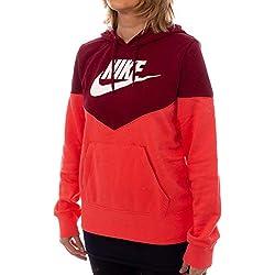 Nike W NSW Hrtg Hoodie FLC Sweat-Shirt Femme - ember glow/Team red/White - S
