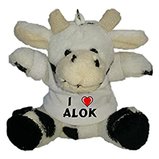Shopzeus Plush Cow Keychain with I Love Alok (first name/surname/nickname)