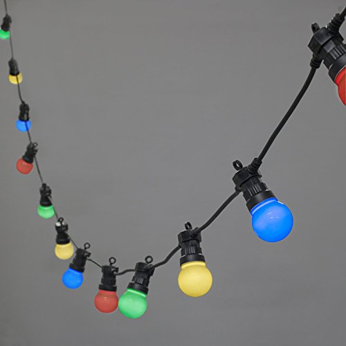 EONANT 20 LED 13M G50 Girlande Lichter Frosted Globe String Lights für Indoor Outdoor Decor (Multicolor-Frosted Bulbs-Black Cable) (Outdoor Beleuchtete Girlande)