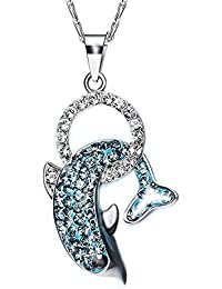 Zorah Sterling Silver Rhodium Plated Dolphin Pendant Necklace For Women And Girls (Embellished With Crystals From...