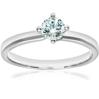 Naava 18ct White Gold Twist Head Engagement Ring, E/SI2 EGL Certified Diamond, Round Brilliant, 0.41ct
