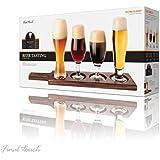 Final Touch - Juego de vasos de degustación de cerveza tulipán/porter/stout/pilsner y trigo, con tabla de madera oscura y guía de platos para maridaje