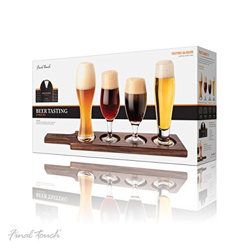 Final Touch Dark Wood Beer Tasting 6 Pc Glassware 4 Crystal Pilsners