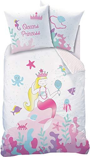 MEERJUNGFRAU Bettwäsche Kinder MERMAID Mädchen Kinderbettwäsche Bettbezug 135x200 Kissenbezug 80x80 OCEAN Princess OCEAN Girl rosa weiß bunt 100% Baumwolle (Kind Mermaid Princess Kostüm)