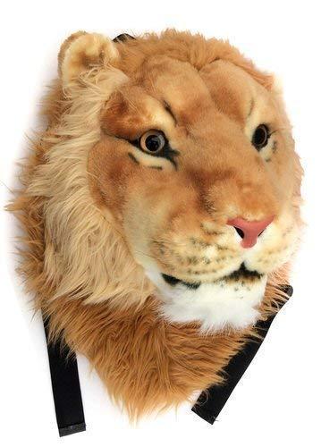 Emerge Men's and Women's Fur 3D Lion Head Shaped Large Animal Backpack Bag (Brown)