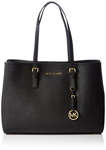 Michael Kors Damen Jet Set Travel Saffiano Leather Tote Schultertaschen, Schwarz (Black 001), 37x26x15 cm