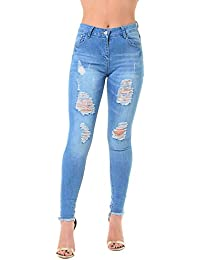 Be Jealous Womens Ladies Trousers Pants Ripped Destroyed Distressed Skinny Fit Denim Jeans UK Size 6-14