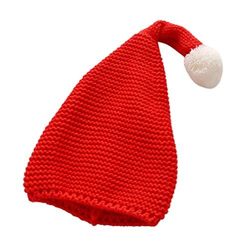 Toyvian Cappello a Maglia Cappello Beanie con Berretto di Lana e Cappello da Babbo Natale con Baffi Morbidi per Bambini (Rosso)