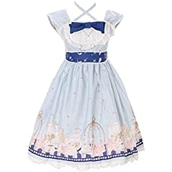 JSK-25-2 Hell-Blau Tea-Time Party Alice Wonderland Sweet Pastel Goth Lolita Kleid Cosplay Kostüm Harajuku