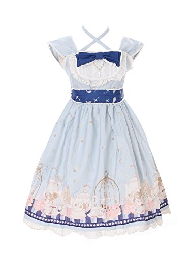 JSK-25-2 Hell-Blau Tea-Time Party Alice Wonderland Sweet Pastel Goth Lolita Kleid Cosplay Kostüm Harajuku (Tea Time Alice Kostüm)
