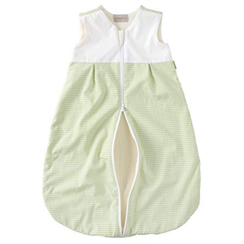 wellyou, Kinder-Baby-Schlafsack, mit Fleece gefüttert, grün-weiß Vichykaro, für Mädchen und Jungen, Größe 56-80