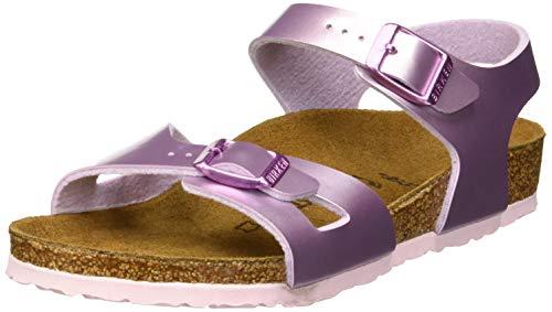 BIRKENSTOCK Mädchen Rio Knöchelriemchen Sandalen, Violett Electric Metallic Lilac, 28 EU - Electric Violet