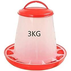 jgashf mangeoire/Abreuvoir en Plastique pour Poulet, 1,5 kg/3kg/6kg, avec Couvercle à poignée Poulet Feeder Abreuvoir pour volaille Poussin Poule caille (3KG)