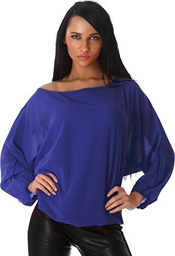 Damen Bluse Blusenshirt Shirt Top Tunika Gummibund Rundhals Ausschnitt (34-40, Blau)