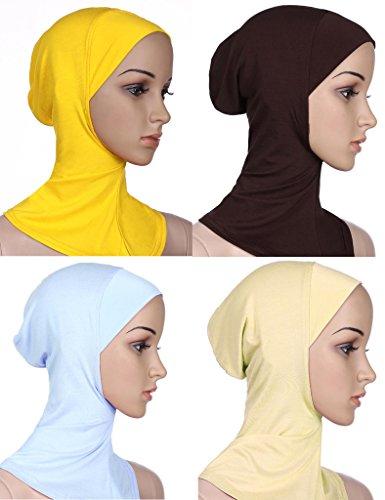 GladThink Musulman Mini Hijab Women Caps Écharpe Islamique 4 Pieces Beige+café+Blanc+Or