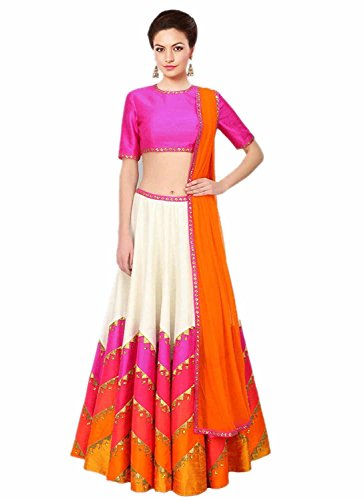 Lehenga ( By Design Women\'s Bhagalpuri Fab Multi Color Printed Lehenga)