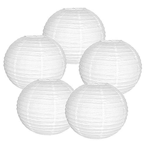 """Preisvergleich Produktbild Homankit 5 Stücke 10"""" Papierlaternen Rund Paper Lampshades Lantern für Haus,  Garten,  Weihnachten,  Party(Weiß)"""